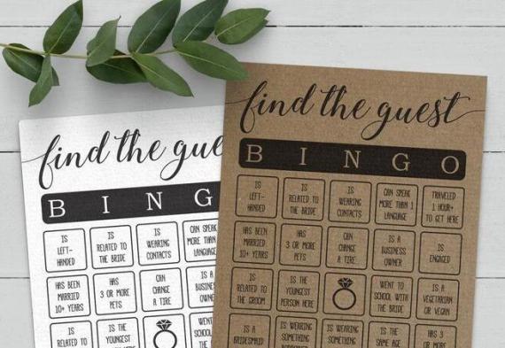 игра бинго для свадебной вечеринки