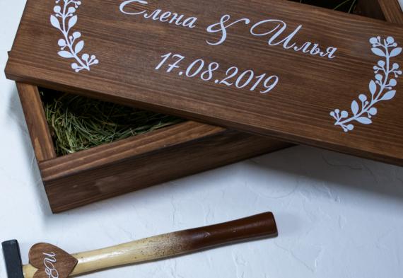 Винная церемония на свадьбе. Забиваем ящик молотком. Изготовим ящик, коробку на заказ. Цена от 2500 руб