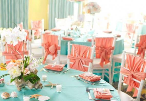 сервировка на коралловую свадьбу