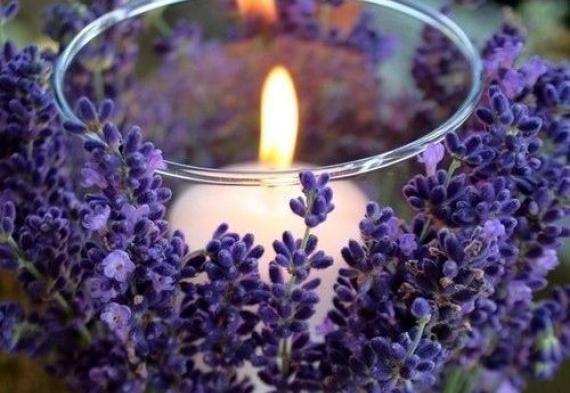 лаванда оформление свечей для свадебного стола