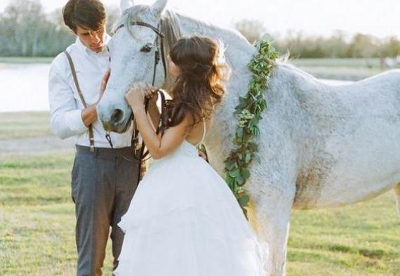 жених и невеста на лошади