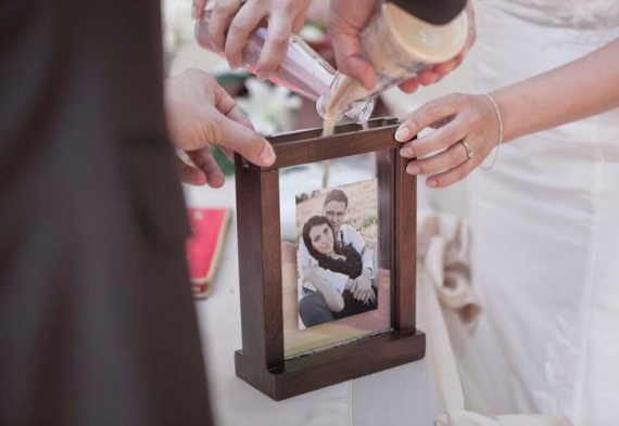 песочная церемония на свадебном торжестве