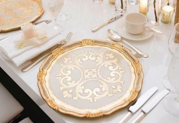 сервировка стола на золотую свадьбу