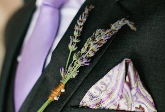 свадебные бутоньерки из лаванды