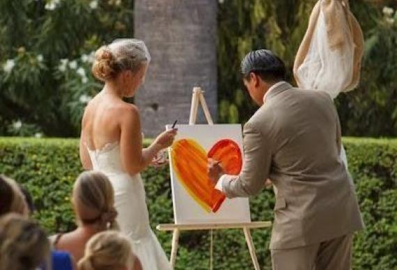 церемония с рисунком на свадебном торжестве
