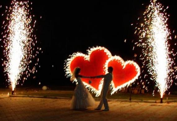 горящие сердца пиротехника на свадьбу