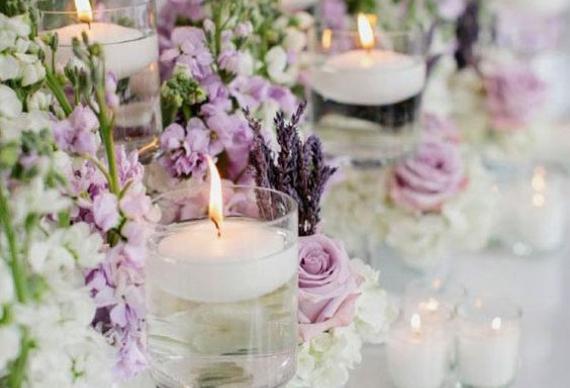 лаванда оформление свечей для свадебного торжества