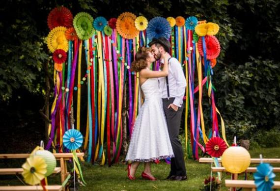 мини-помпоны на свадьбе
