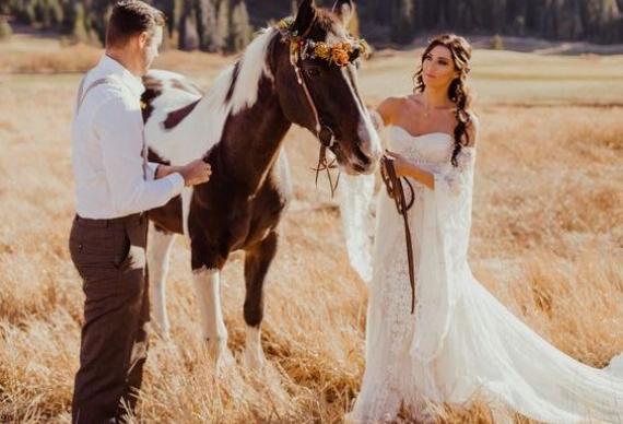 прибытие на свадьбу на лошади