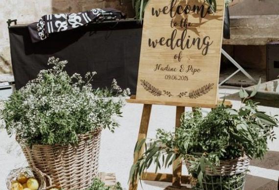 оформление Welcome зоны на свадебном торжестве