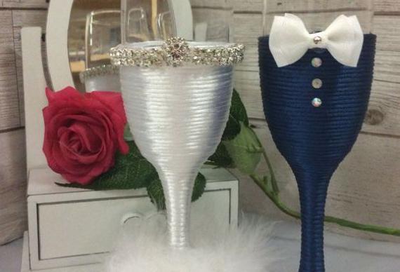 декор бокаловдля сапфировой свадьбы