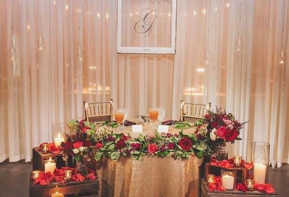 светодиодная гирлянда нить в свадебном декоре