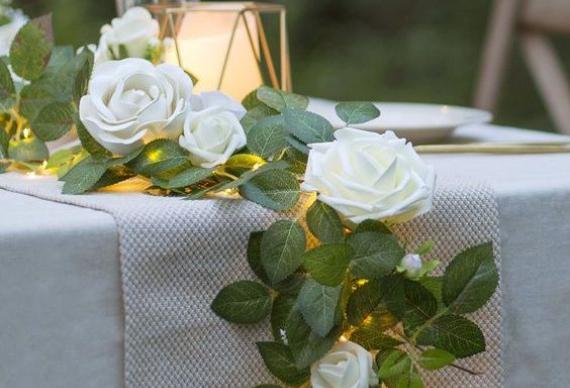 светодиодная гирлянда нить в свадебном интерьере