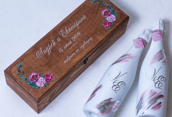 Винная церемония на свадьбу. Коробка, ящик из массива сосны. Цена 2 500 руб