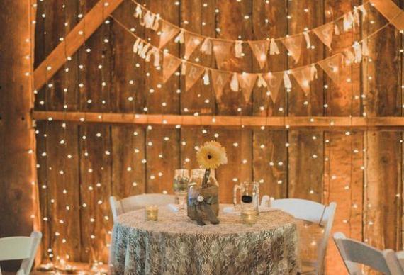 занавес из светодиода в свадебном декоре