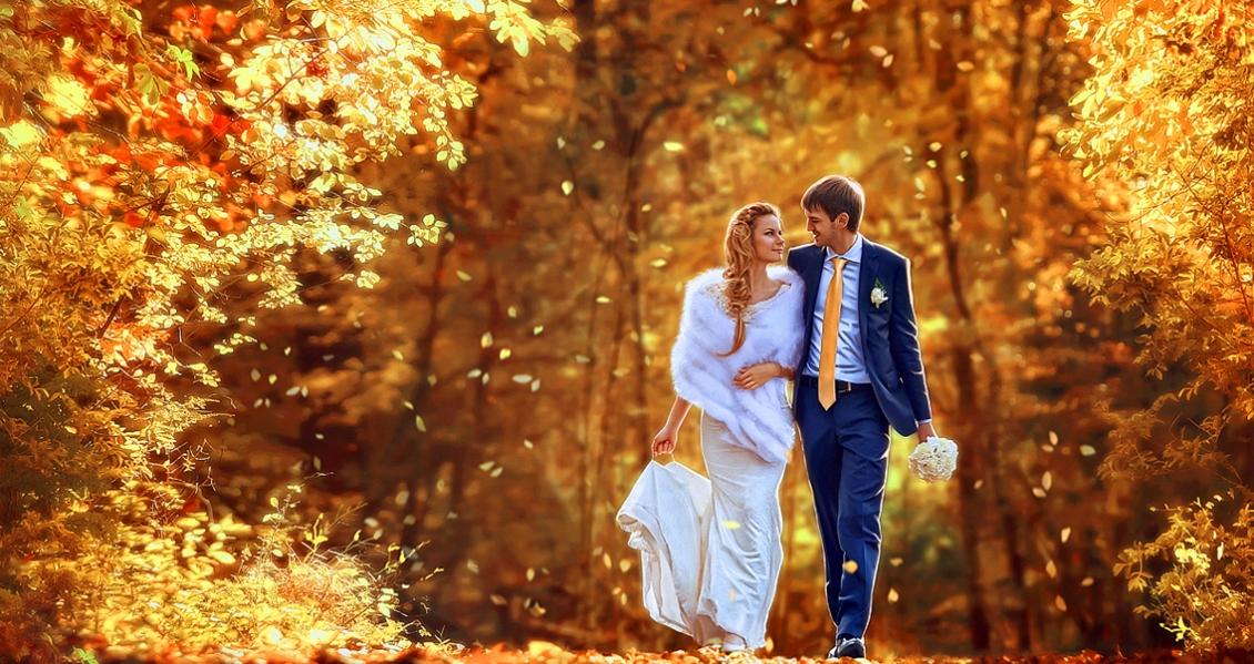 свадьбы фото осенью